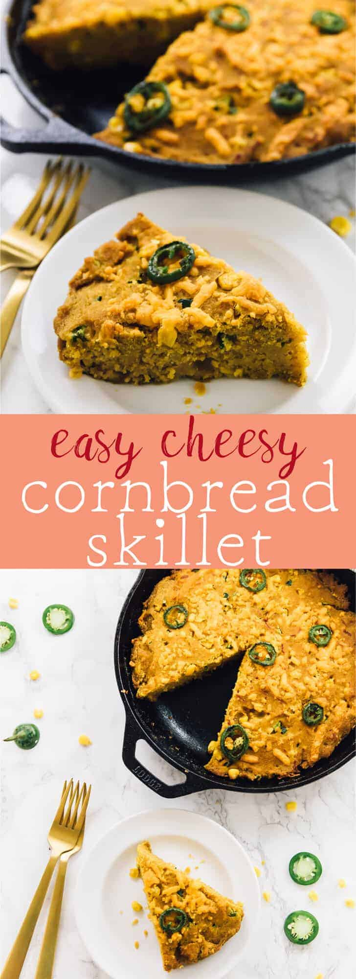 This Easy Cheesy Cornbread Skillet (Vegan & Gluten Free) has the best cornbread crust ever! It's so fluffy, loaded with so much flavour and is so addictive! via https://jessicainthekitchen.com