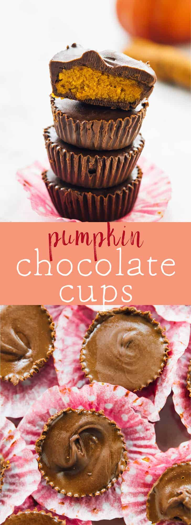 These Pumpkin Chocolate Cups are a delicious holiday candy treat! They're packed with yummy pumpkin flavour, are easy to make and are vegan and gluten free! via https://jessicainthekitchen.com