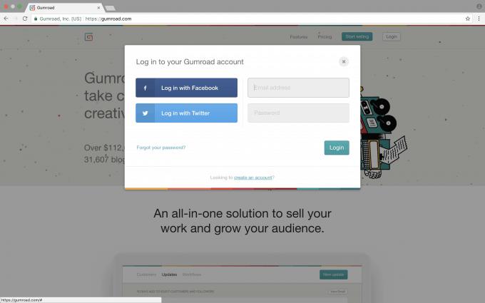 Screen grab of login screen.