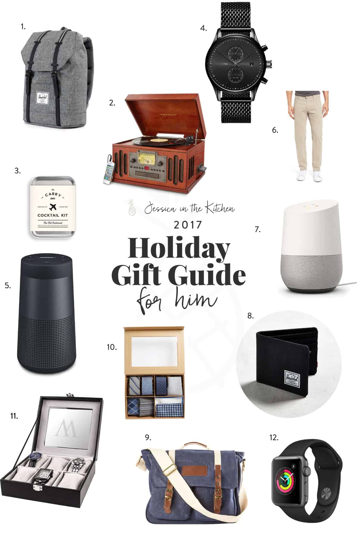 Various gifts for men on a white background.
