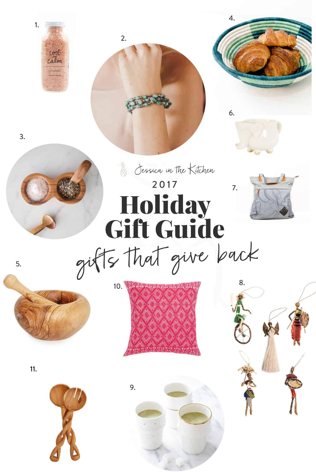 Holiday gift guide text with images of gifts around it.