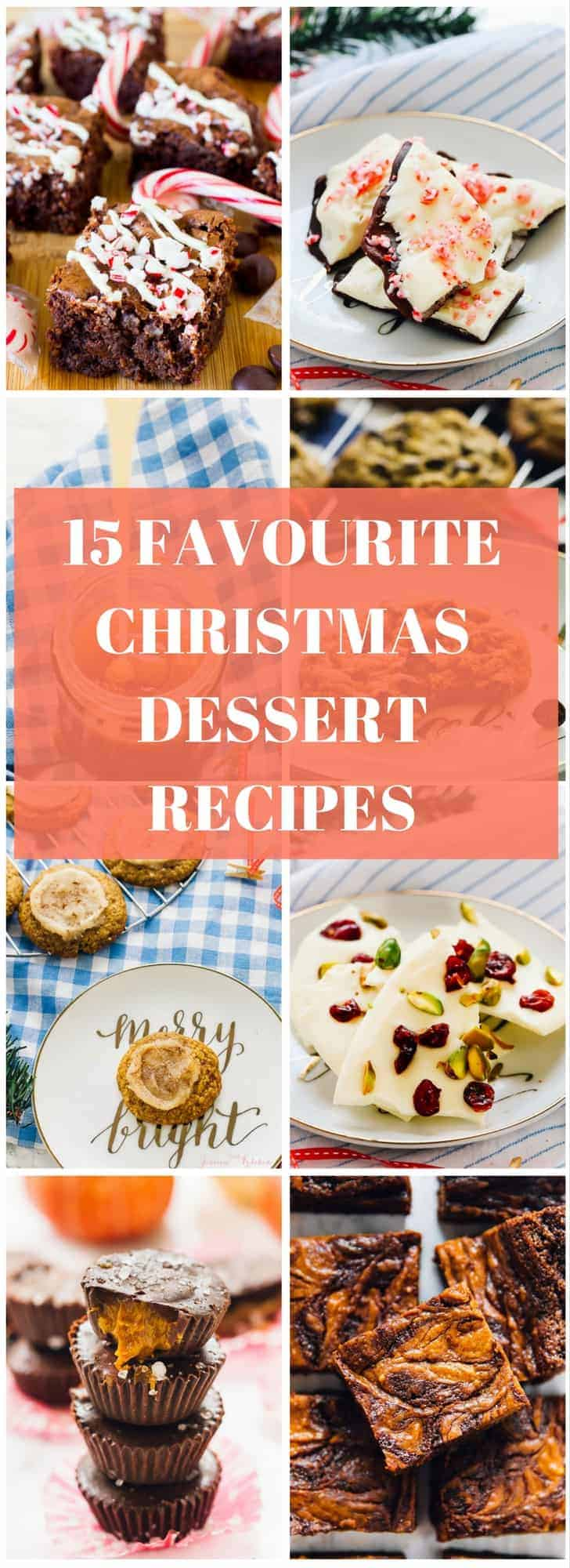 A montage of christmas desserts with text over it.