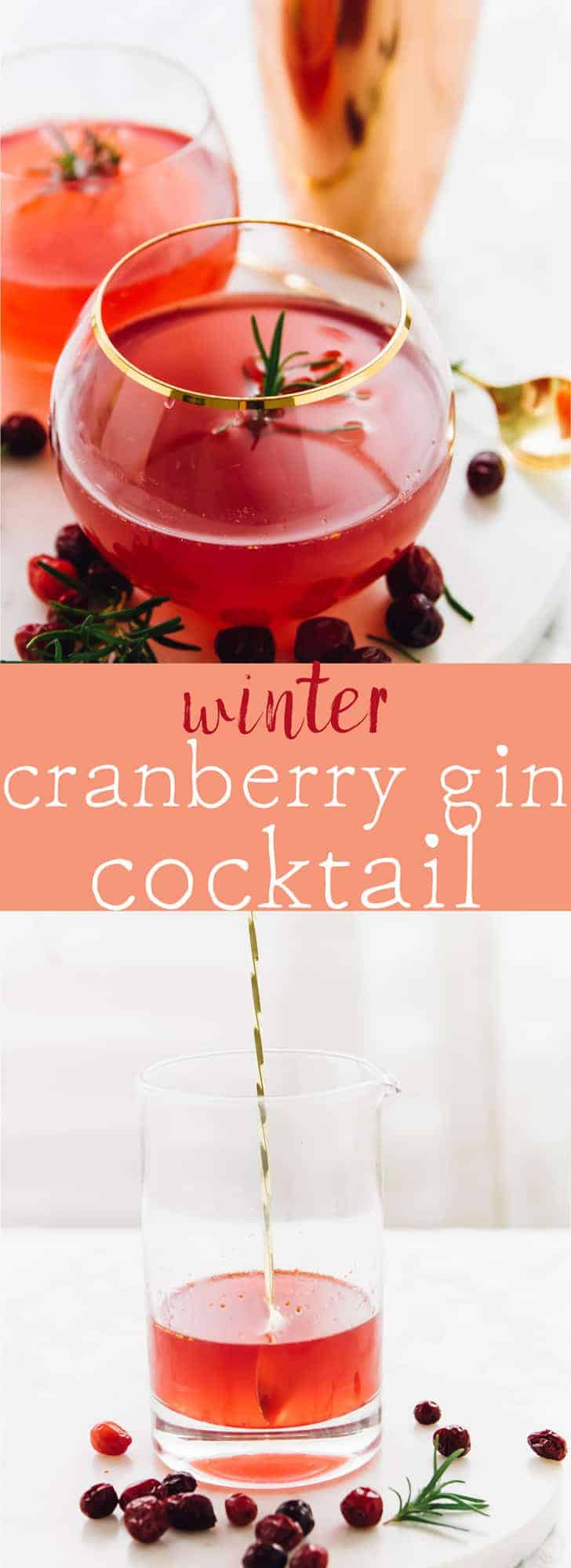 This Winter Cranberry Gin Cocktail will impress all of your guests! It's made with an easy rosemary infused simple syrup and only a few ingredients! via https://jessicainthekitchen.com