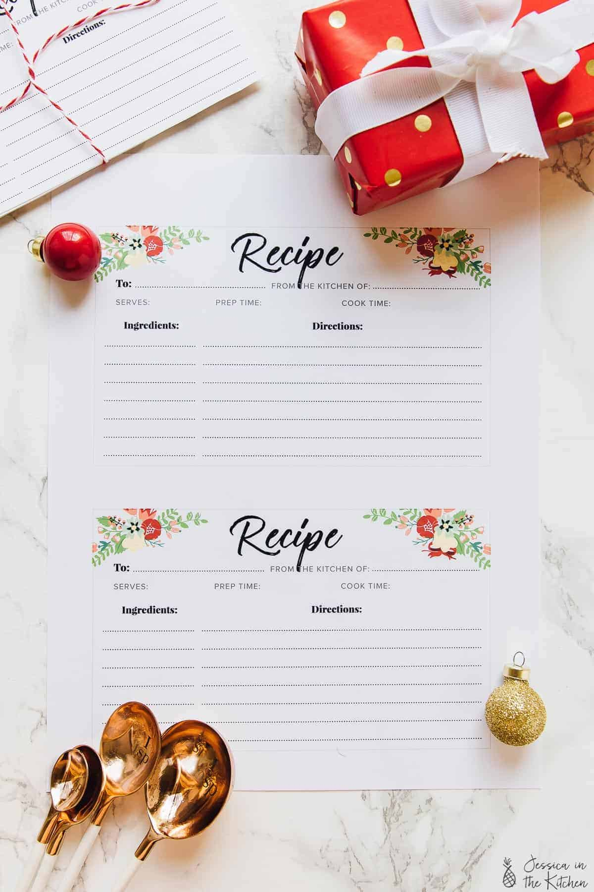 Two printed recipe cards on a table.