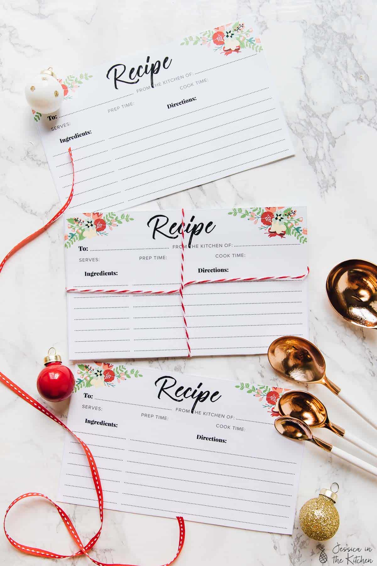 Recipe cards on a table.