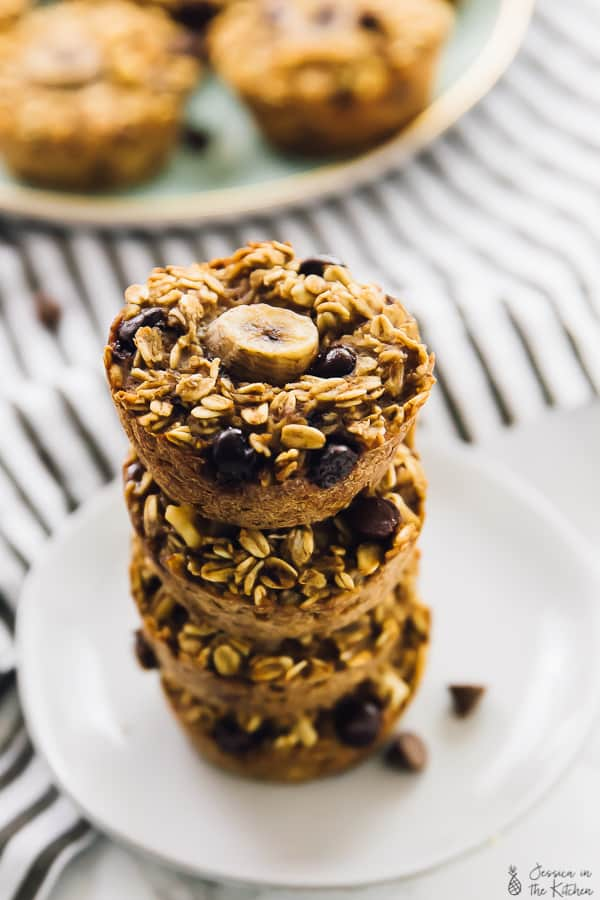 A stack of baked banana bread oatmeal cups.