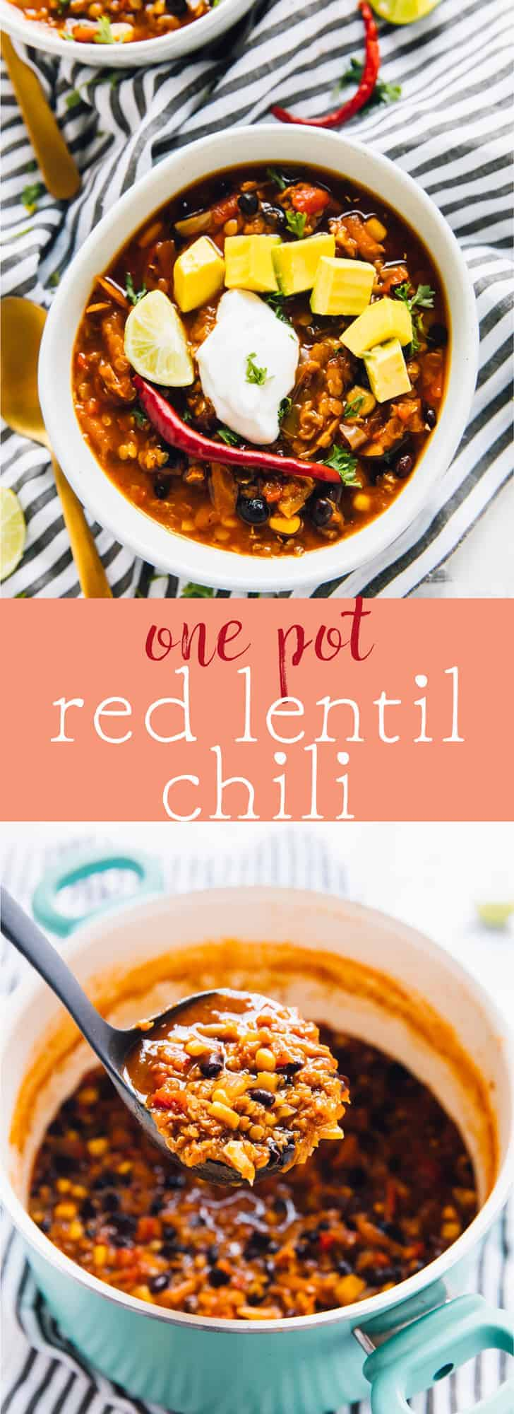 This One Pot Red Lentil Chili takes only ten minutes of prep! It makes an absolutely delicious vegan chili and it incredibly easy to whip up for you and your family! via https://jessicainthekitchen.com