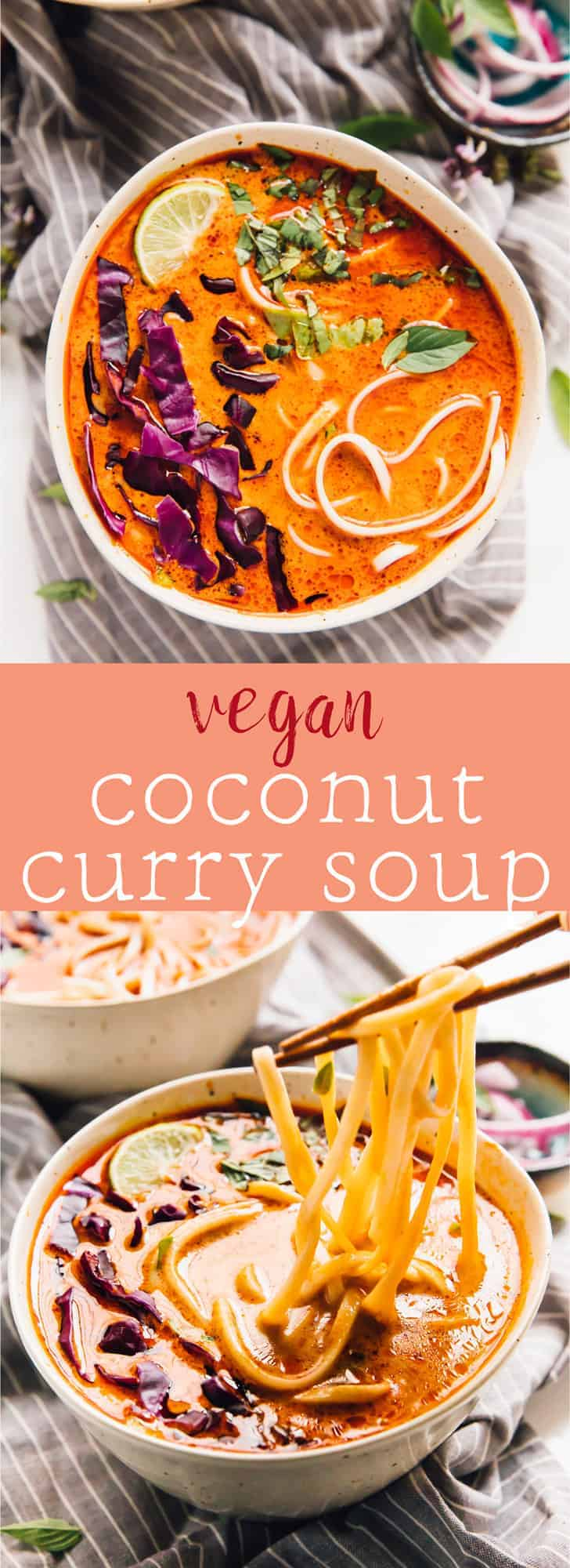 This Vegan Coconut Curry Soup is loaded with lots of divine Thai flavours and is so delicious! It takes only about 35 minutes from start to finish!