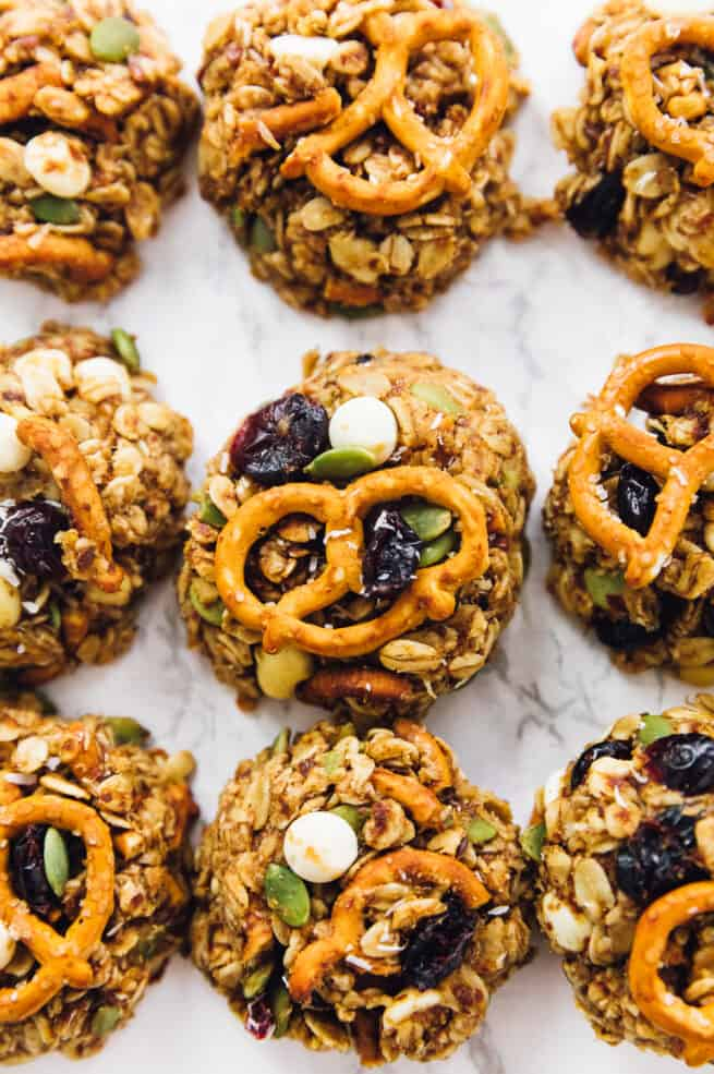 Overhead view of chewy trail mix cookies