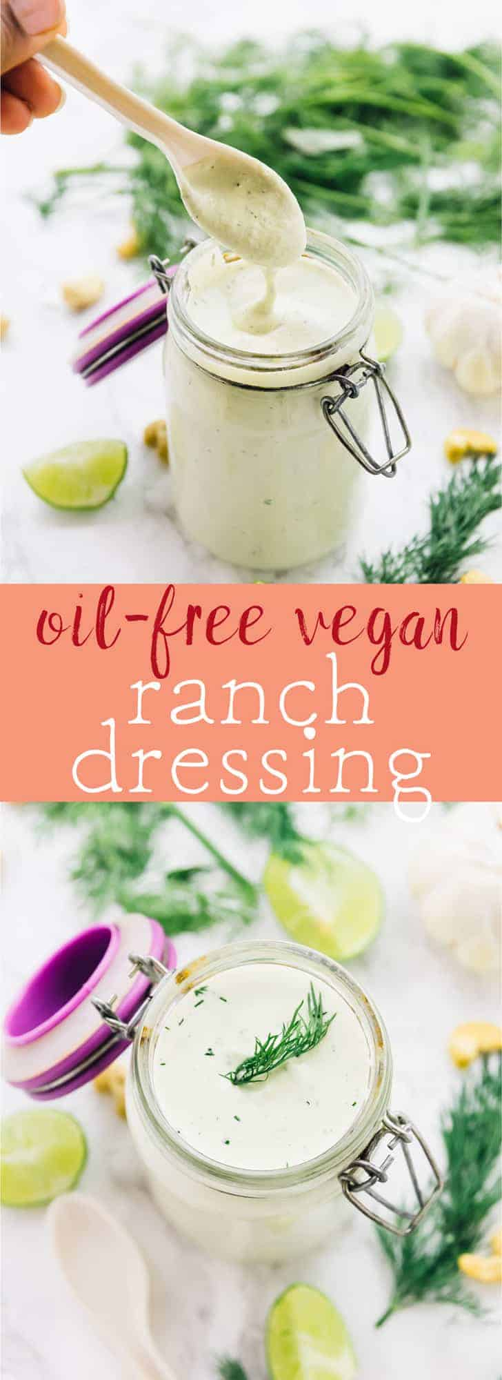 This Vegan Ranch Dressing tastes as tangy and is just as creamy as your favourite regular ranch dressing!! It's oil-free, dairy free and really amps up a salad! via https://jessicainthekitchen.com