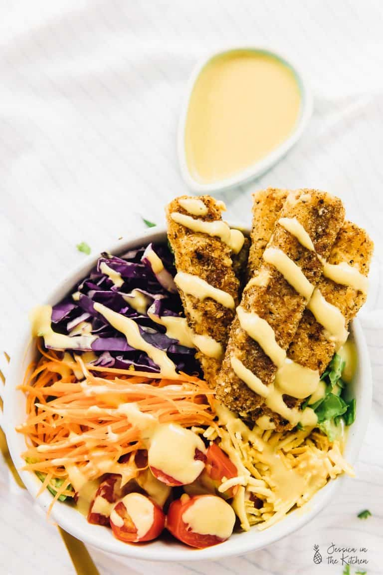 Vegan Crispy Cajun Fried Chicken Salad