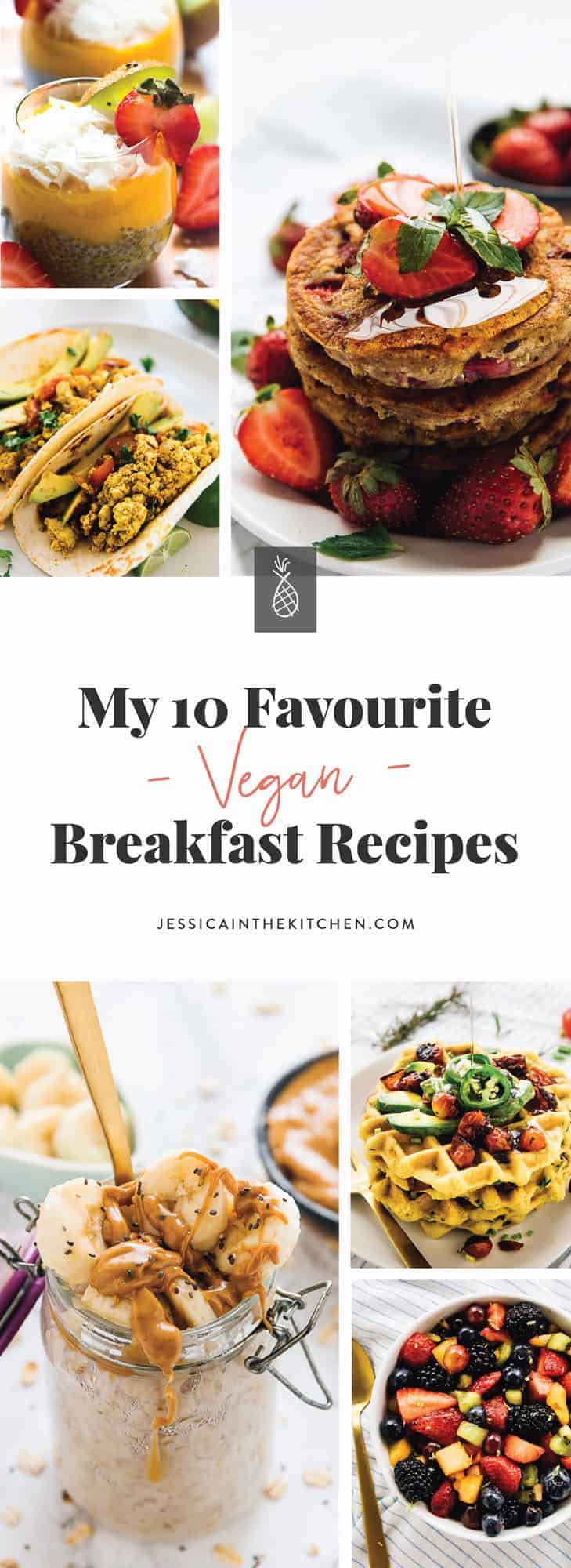A montage of vegan breakfast recipes with text over it.