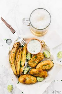 These Vegan Fish Sticks are so unbelievably divine! They are beer-battered, have an amazing texture and are served with a homemade vegan tartar sauce! via https://jessicainthekitchen.com