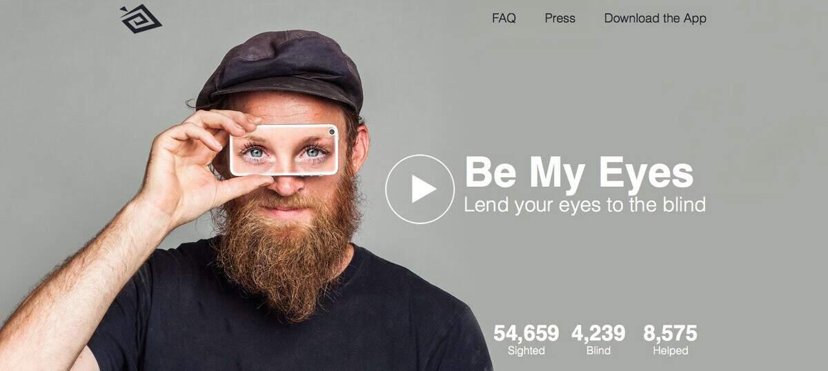 Screen grab of the app called be my eyes.