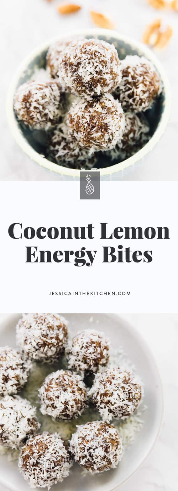 These No Bake Coconut Lemon Energy Bites are made with only 6 ingredients, vegan and gluten-free and are a perfect quick healthy breakfast or snack! via https://jessicainthekitchen.com #vegan #glutenfree #lemon #energybites