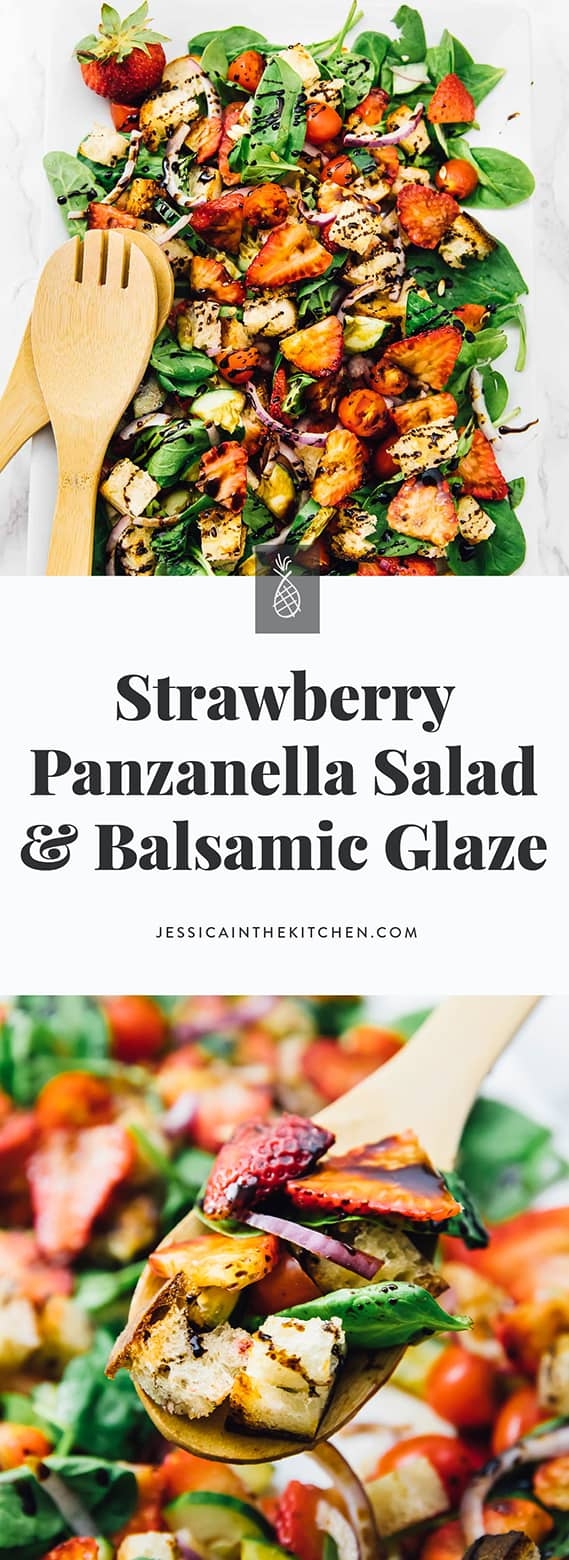Strawberry Panzanella Salad With Balsamic Glaze Jessica In The Kitchen