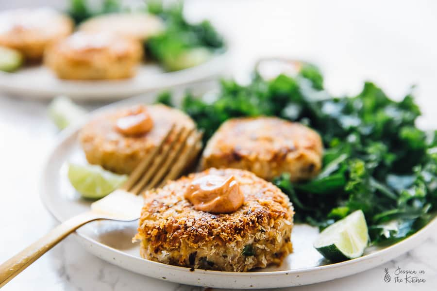 These Vegan Crab Cakes are crunchy on the outside, moist on the inside and pleased our entire family! With the perfect crust, texture and flavours, you've got to try them! It's from Jenné Claiborne's cookbook Sweet Potato Soul! via https://jessicainthekitchen.com #vegan #crabcakes #glutenfree #healthy