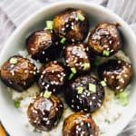 These Vegan Teriyaki Meatballs have the perfect texture and taste divine! They are incredibly easy to make, coated in a homemade teriyaki sauce and so meal preppable! via https://jessicainthekitchen.com #vegan #veganmeatballs #teriyaki #teriyakimeatballs #veganmealprep #mealprep #glutenfree #easyrecipes #vegetarian #veganrecipes