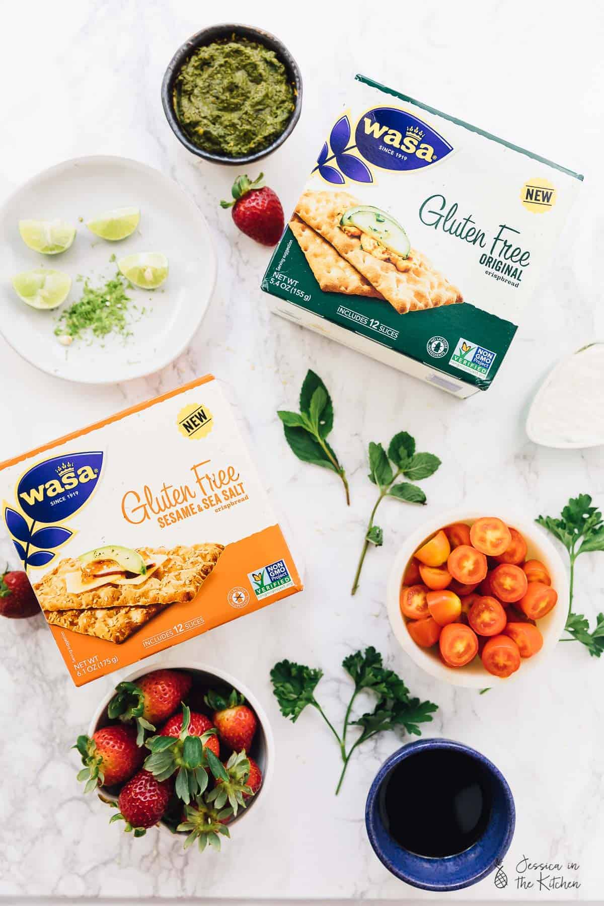These 3 quick and easy summer appetizers are incredibly simple to prepare! They're made out of delicious spreadable toppings and are 100% gluten free with @wasausa Gluten Free crispbread crackers as the amazing base! The toppings add a variety that is sure to please any snack lover! via https://jessicainthekitchen.com #vegan #SimplySatisfying #SimplyWasa #glutenfree #plantbased