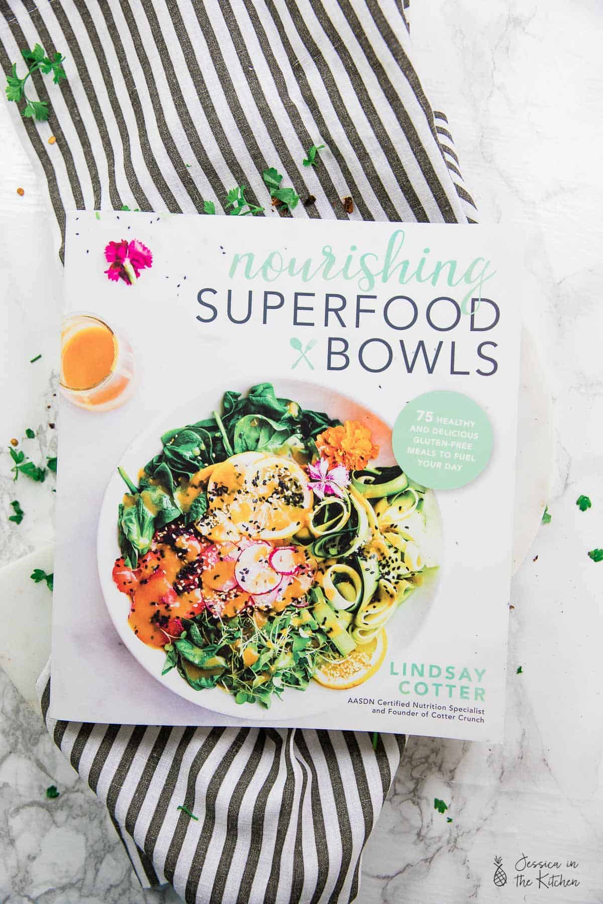 Top down view of a superfood cook book.
