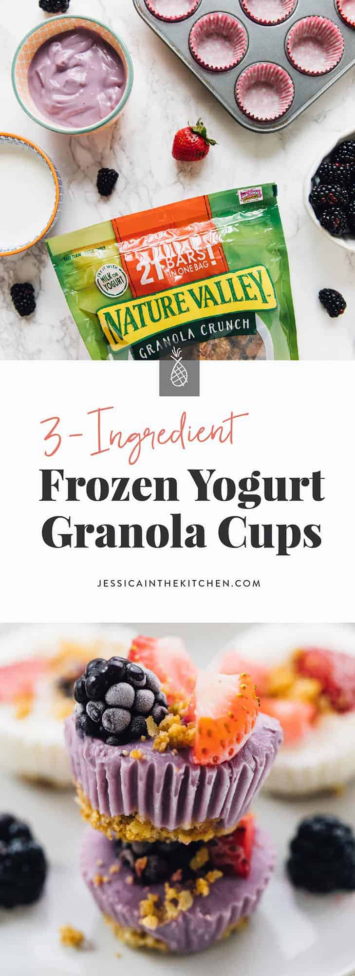 These 3-ingredient Frozen Yogurt Granola Cups are so incredibly easy to make! They're made out of granola, vegan yogurt and fruit - that's it!. Meal prep-able, and perfect for an on-the-go snack! via https://jessicainthekitchen.com #veganrecipes #vegans #vegetarians #recipes #plantbased #veganmeal #meals #healthy #breakfast #veganlife #veganeating
