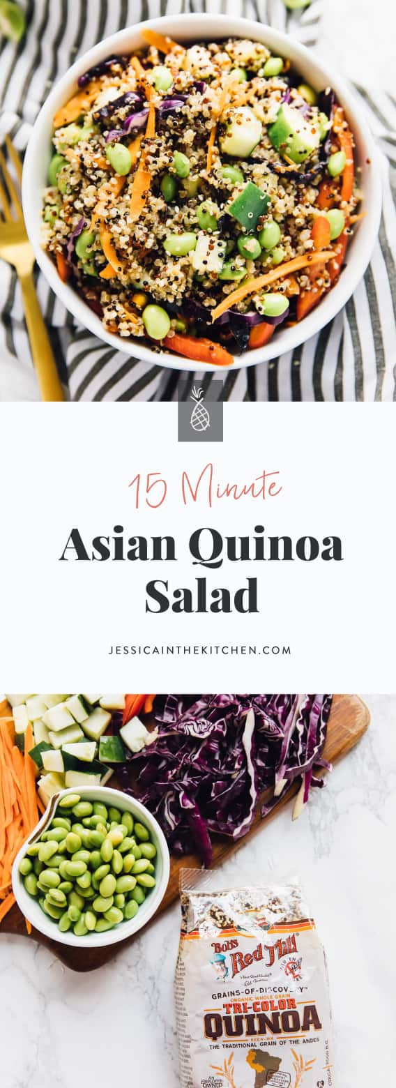 This 15 Minute Asian Quinoa Salad is loaded with so much flavour! It's a colour vegan meal perfect for a light but filing lunch or dinner and is dressed with a divine sesame ginger sauce!! via https://jessicainthekitchen.com via https://jessicainthekitchen.com #veganrecipes #vegans #vegetarians #recipes #plantbased #veganmeal #meals #healthy #breakfast #veganlife #veganeating