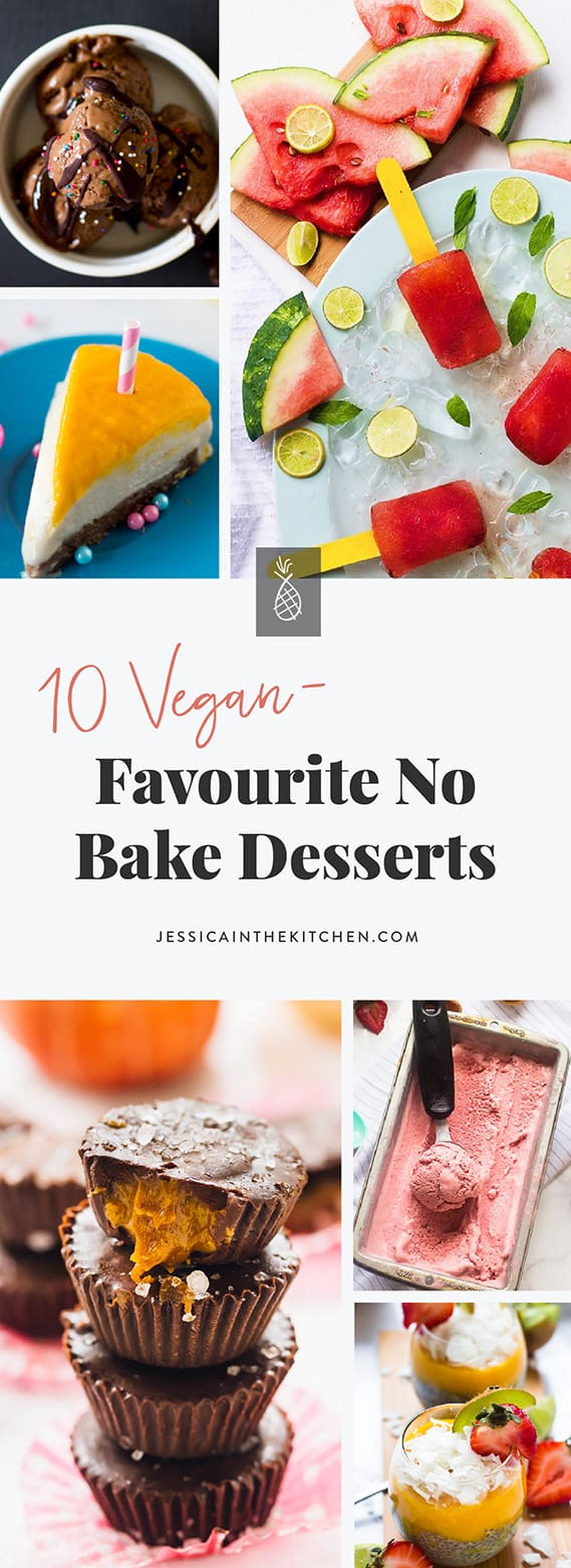A montage of no bake vegan desserts with title text.