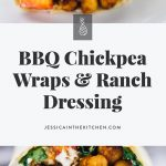 These BBQ Chickpea Wraps are an easy and quick lunch for work or meal on the go! They're swrved with a creamy ranch dressing and very filling! via https://jessicainthekitchen.com