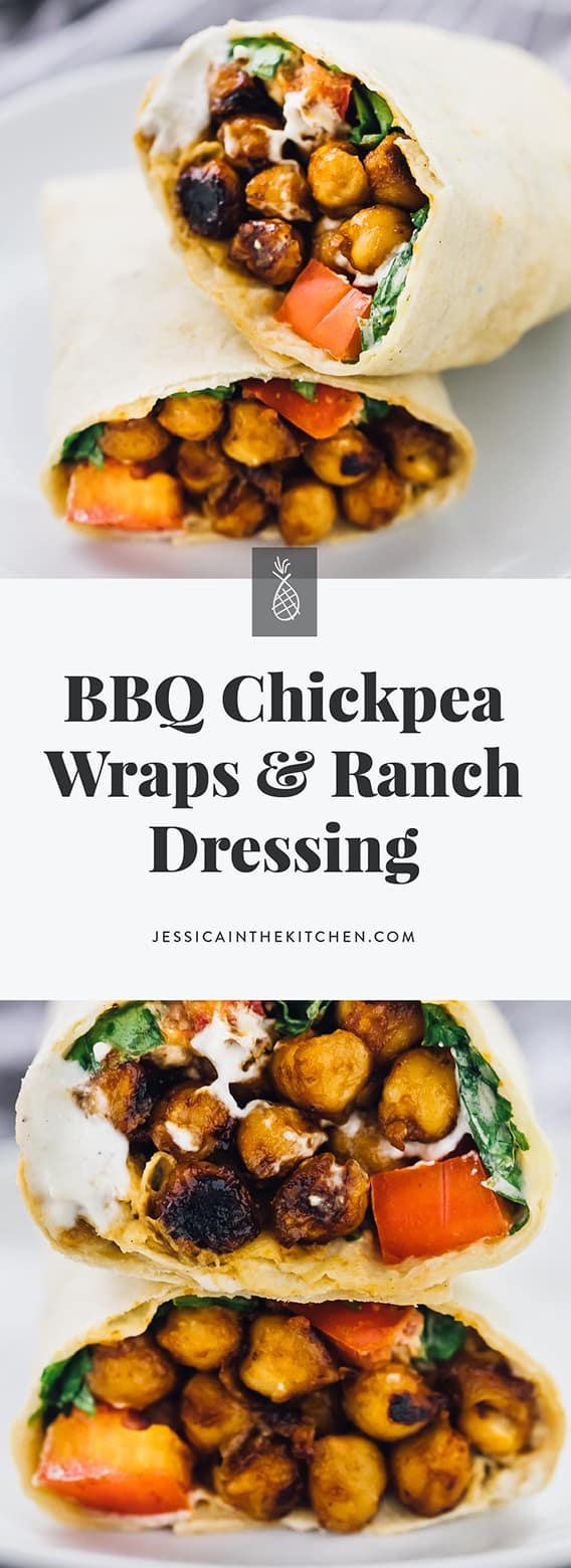 These BBQ Chickpea Wraps are an easy and quick lunch for work or meal on the go! They're served with a creamy ranch dressing and very filling! via https://jessicainthekitchen.com