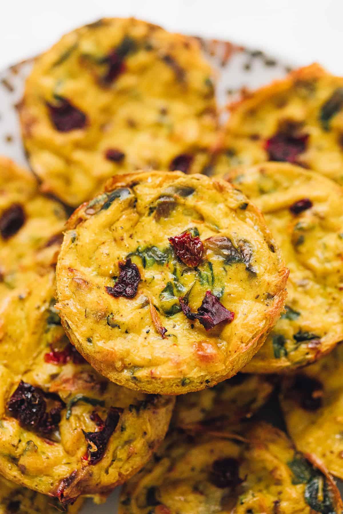 close up of vegan quiche muffin