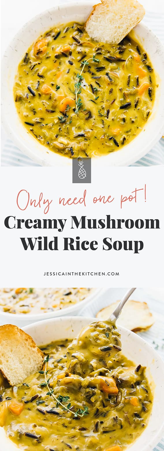 This Mushroom Wild Rice Soup is creamy, made in one pot, and perfect for a weeknight meal! It's so comforting, filling and incredibly easy to make. via https://jessicainthekitchen.com