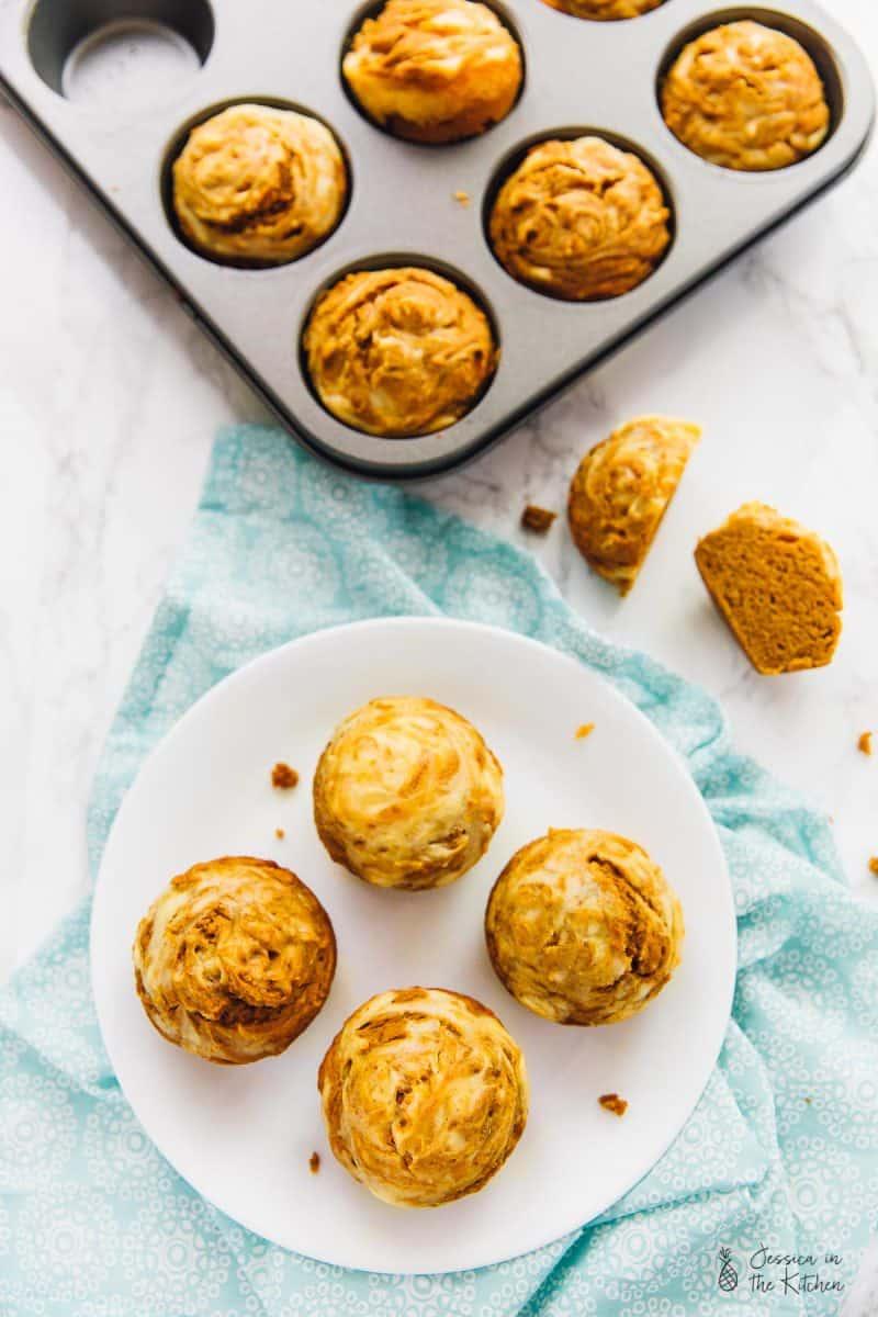 Top down view of vegan muffins.