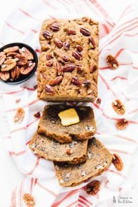 This moist and delectable banana bread is loaded with nutty pecans for a flavour boost! It's so good that you can't have just one slice! via https://jessicainthekitchen.com