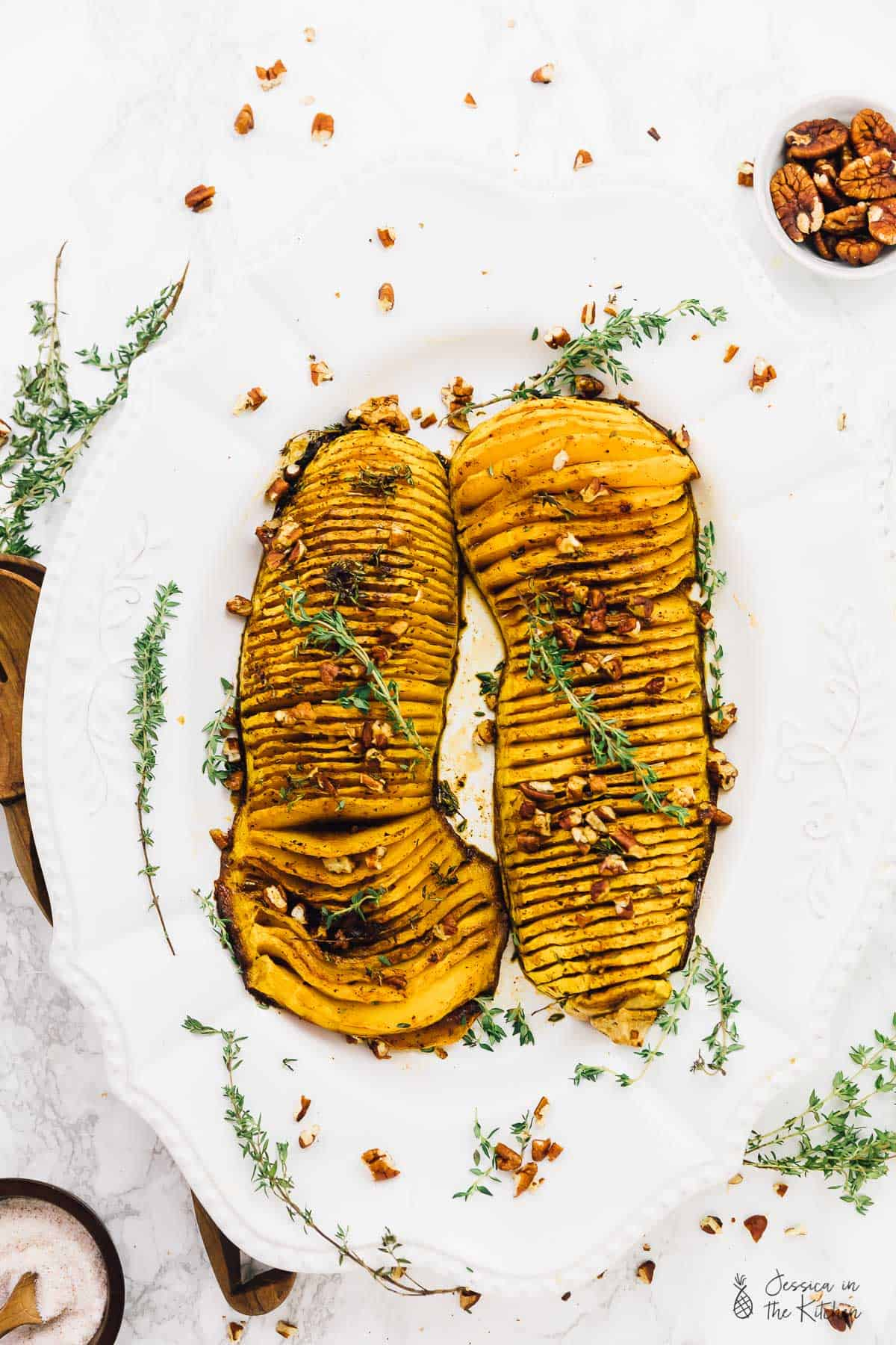 Hasselback Butternut Squash with Maple Pecan Drizzle