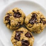 These Salted Chocolate Chip Tahini Cookies will totally blow you away! They're soft, chewy and have a nutty, subtle tahini flavour that's so addictive! via https://jessicainthekitchen.com