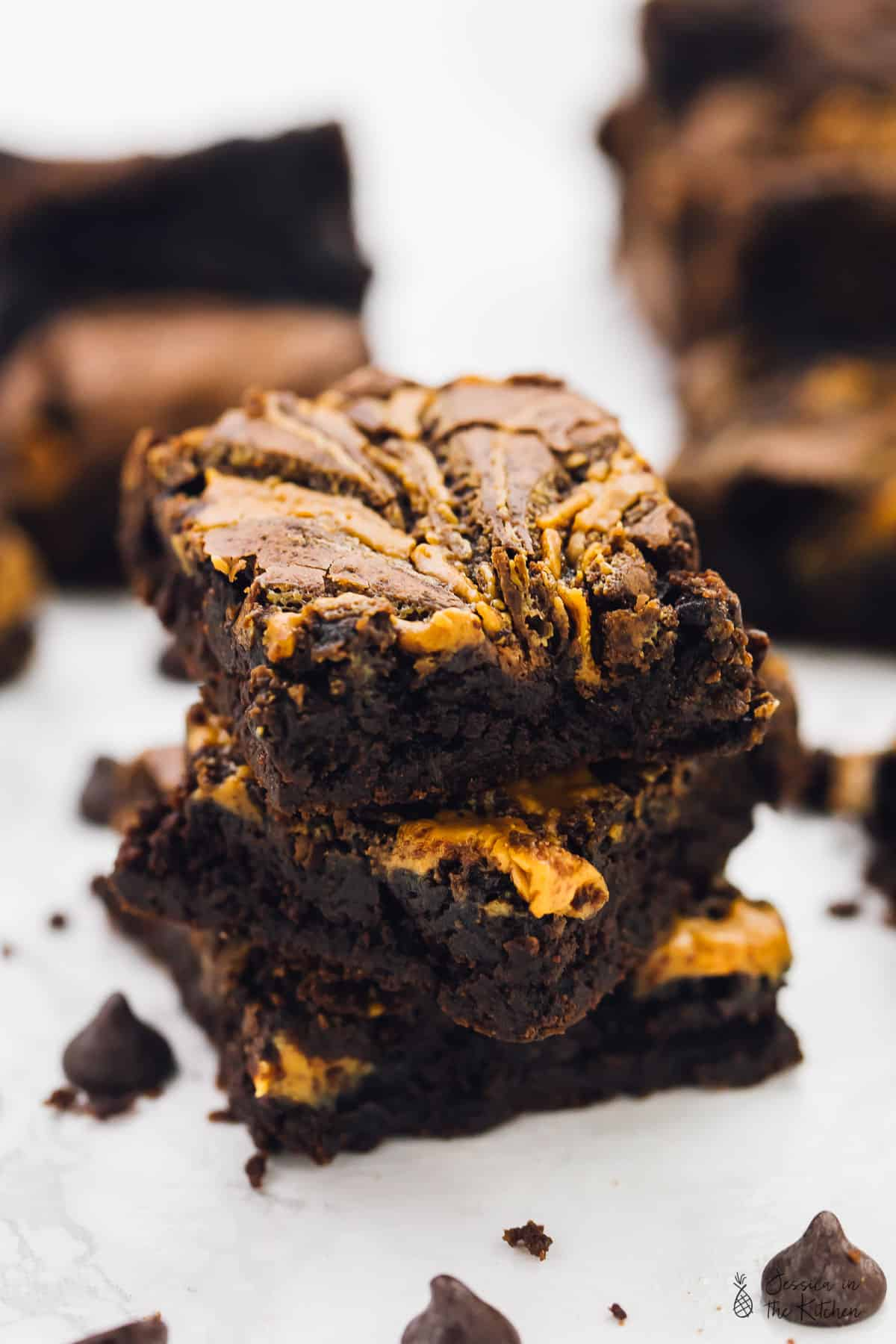 These Vegan Chocolate Peanut Butter Swirl Brownies are beyond addictive! They are chewy, fudgy, rich in chocolate and peanut butter and so easy to make!