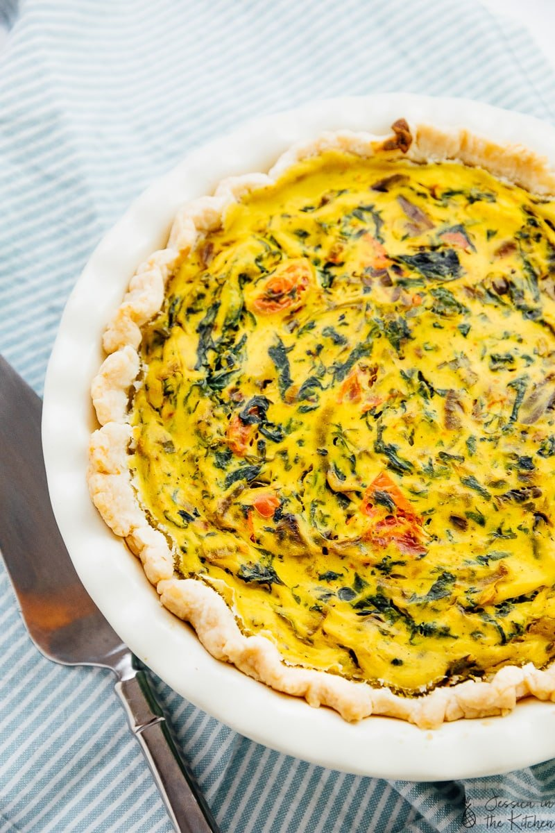 To down view of vegan quiche in a baking dish.