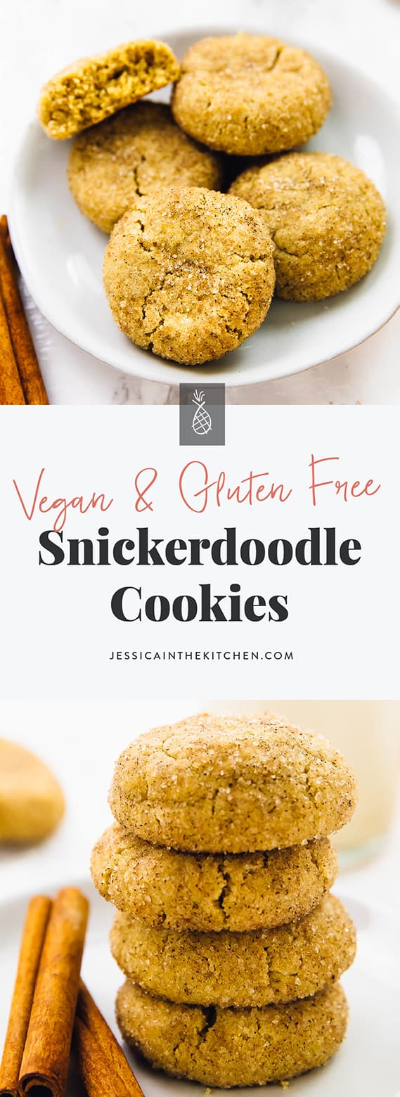 These Vegan Snickerdoodle Cookies are SO good! They're soft-batch, thick and fluffy, and gluten free! They're easy to make and so cinnamon-y! via https://jessicainthekitchen.com