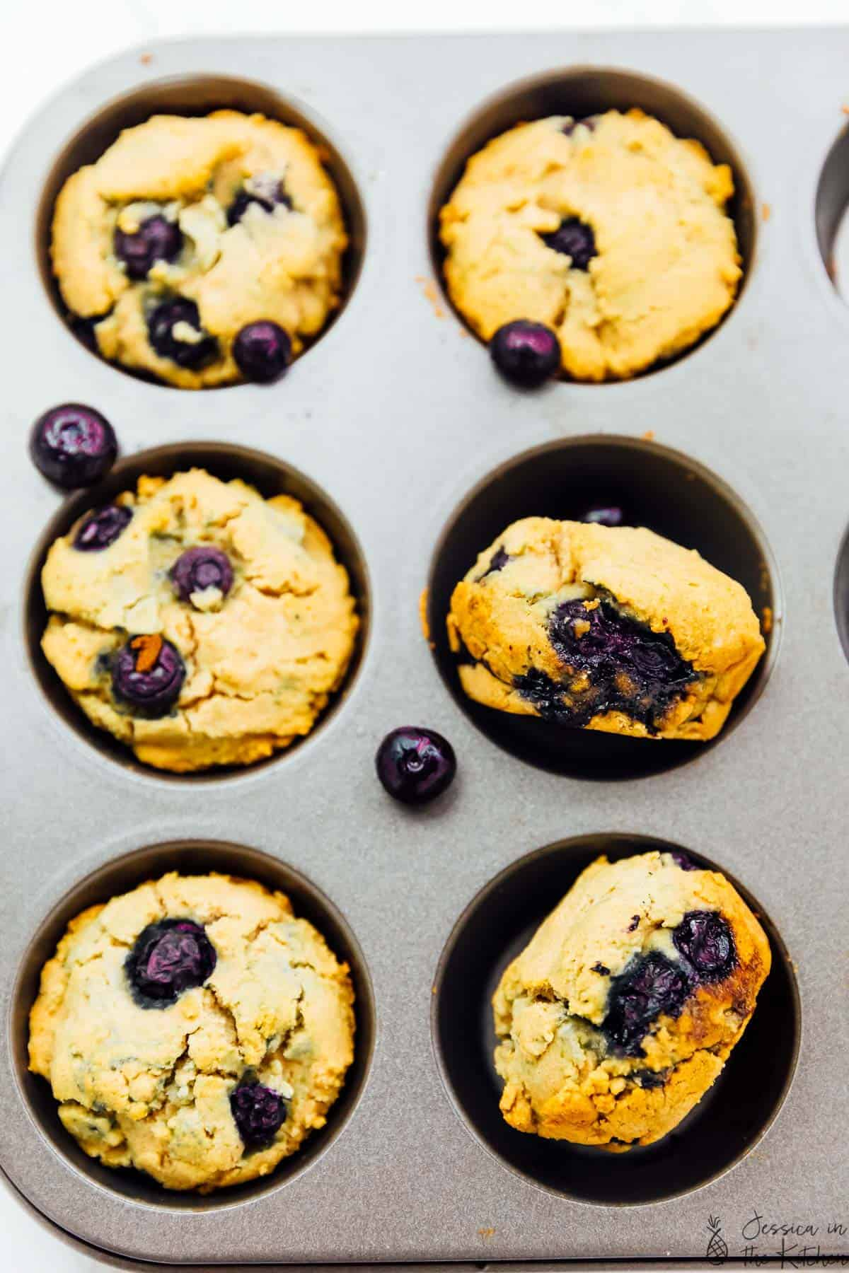 These Vegan Blueberry Muffins are fluffy, bursting with blueberry flavour and are gluten free! They're made with cassava flour - read on for more tips on how to perfectly use this flour! via https://jessicainthekitchen.com