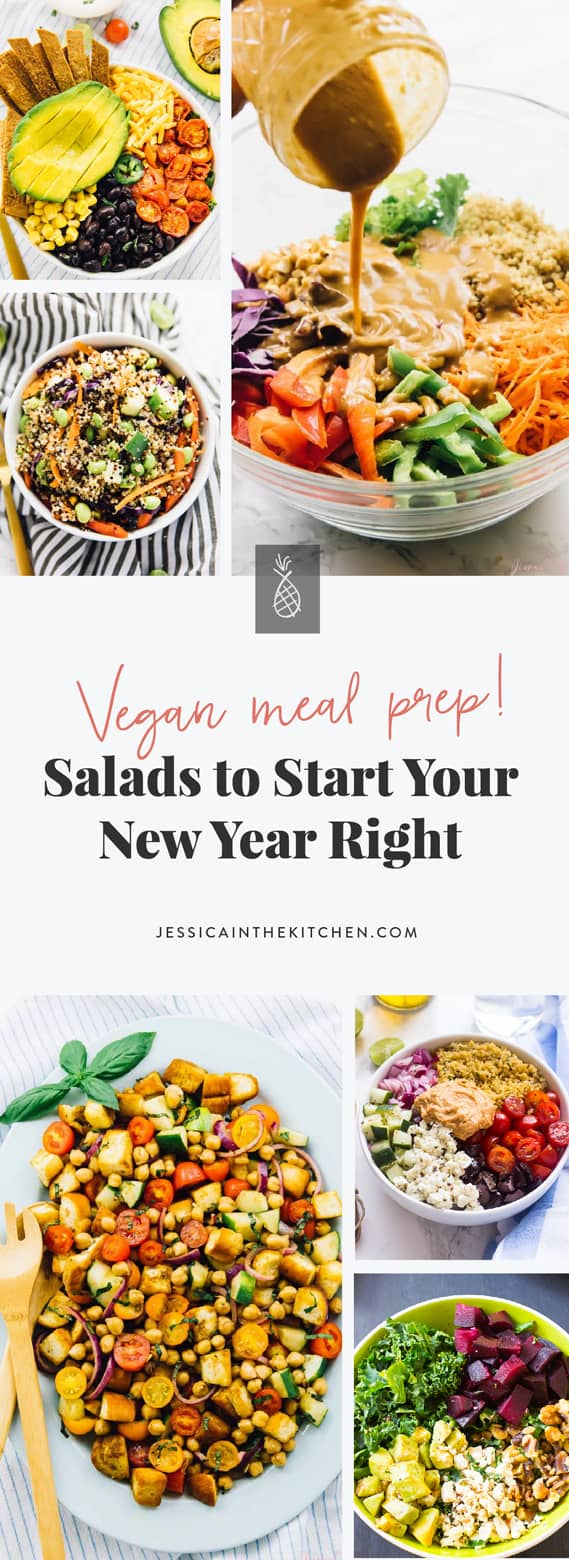 Here are 17 Meal Prep Salads to Start Your New Year Right! These salads are vibrant, super tasty, vegan and most importantly - filling! via https://jessicainthekitchen.com