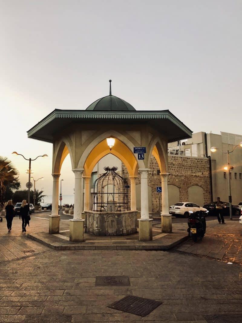 A gazebo in a town square.