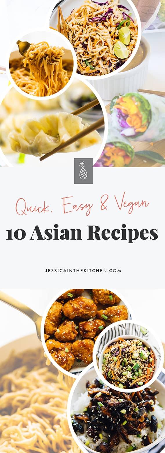 A pinterest pin of vegan asian recipes.
