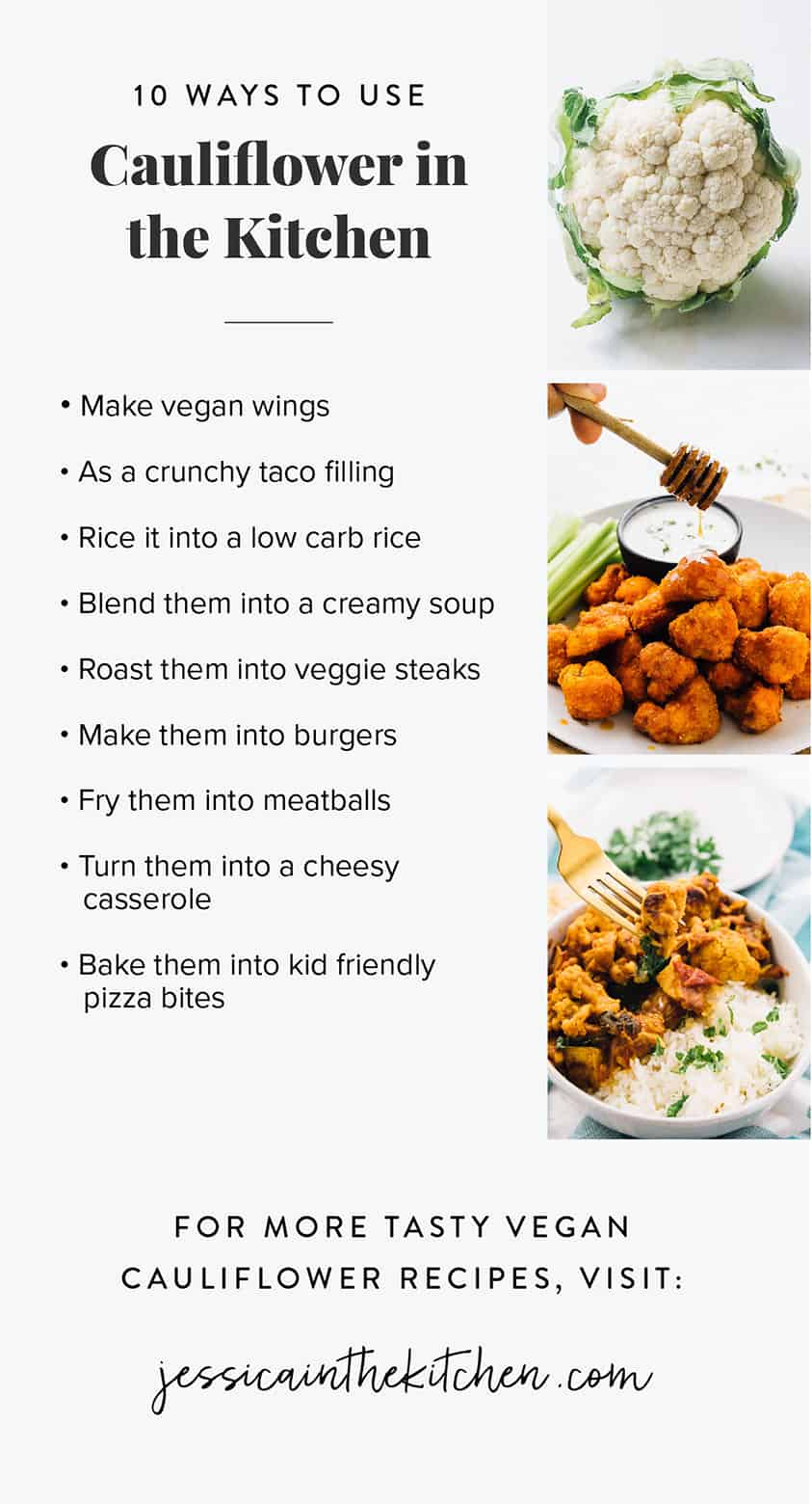 A list outlining the ways to use cauliflower in recipes.