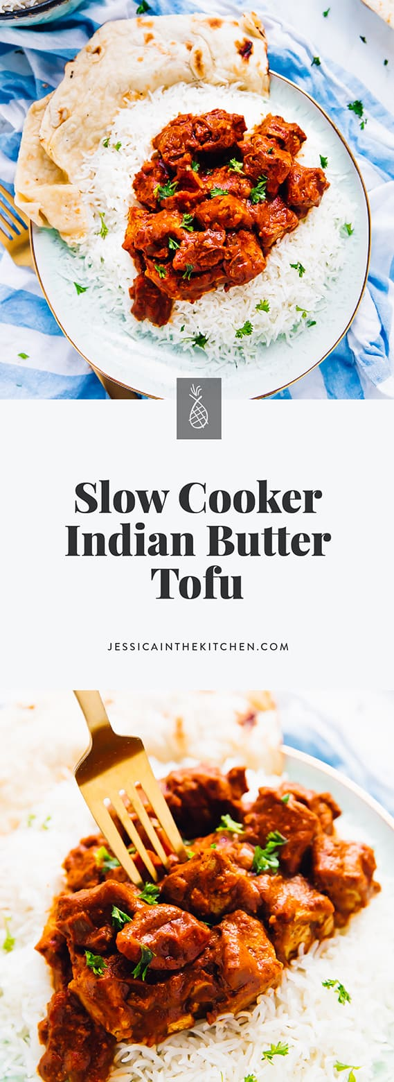 This Slow Cooker Tofu Butter Chicken is even better than takeout! Incredibly rich in flavour and all one pot, this is great for meal prep all week long! via https://jessicainthekitchen.com