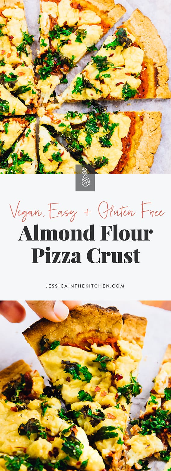This Easy Vegan Almond Flour Pizza Crust is done in 30 minutes, and has the perfect crust texture! It's gluten free, uses only 8 ingredients, is yeast free and incredibly easy to make! via https://jessicainthekitchen.com