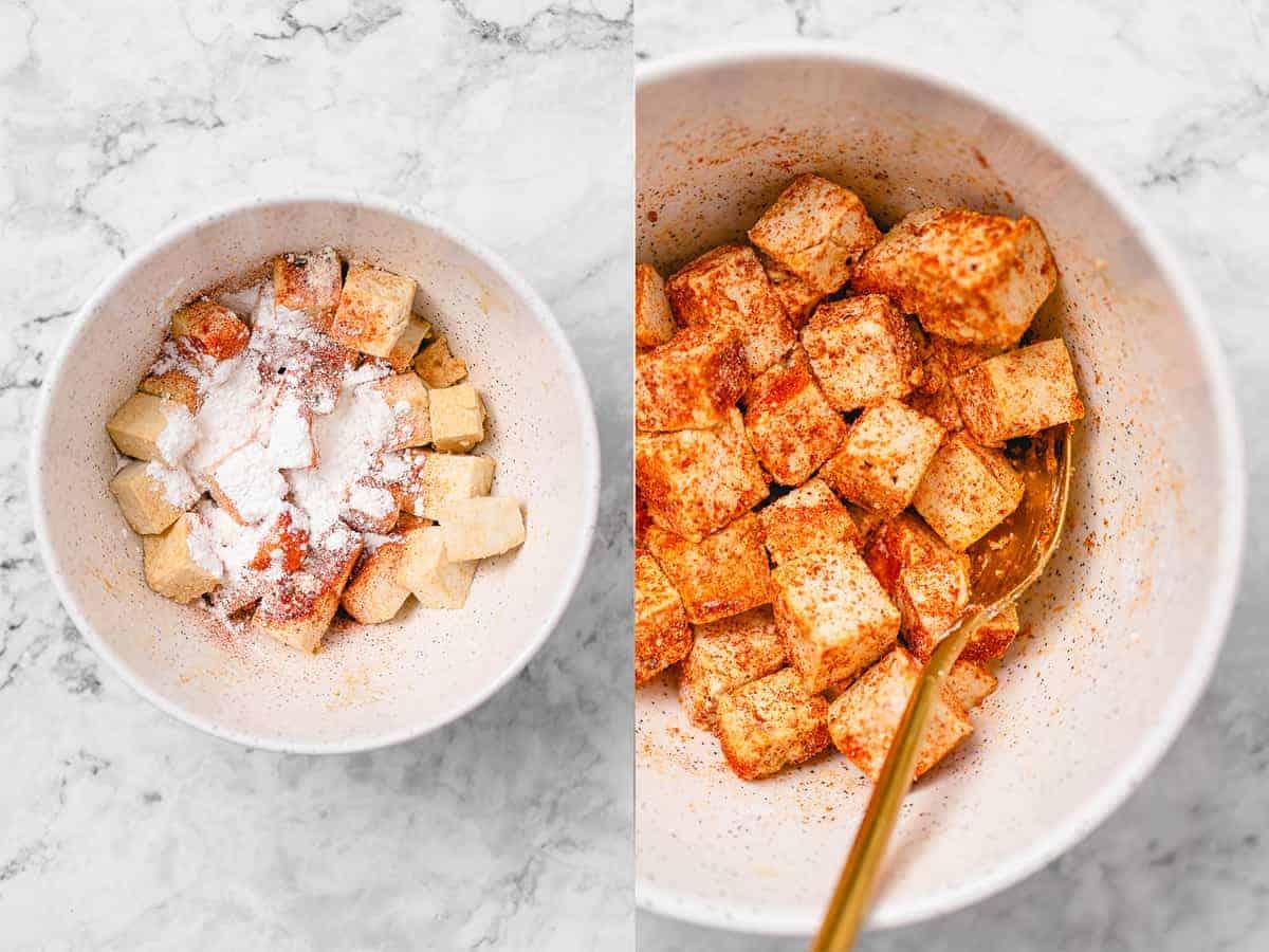 mixing of tofu seasoning ingredients
