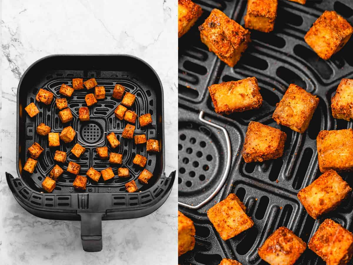 cooked air fryer tofu on air fryer tray side by side