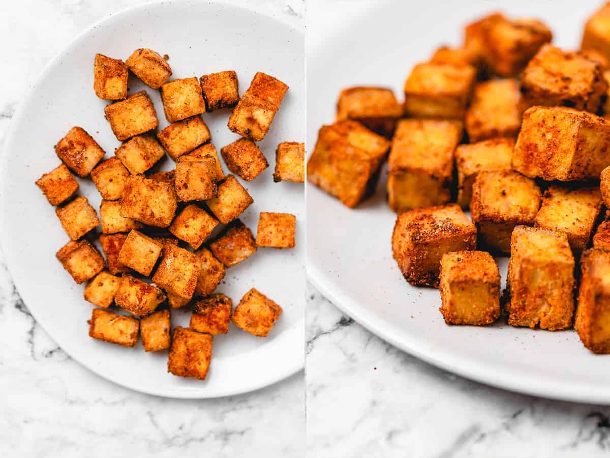 cooked air fryer tofu on a plate side by side photos