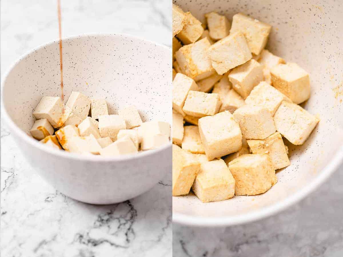 mixing of tofu soy sauce ingredients