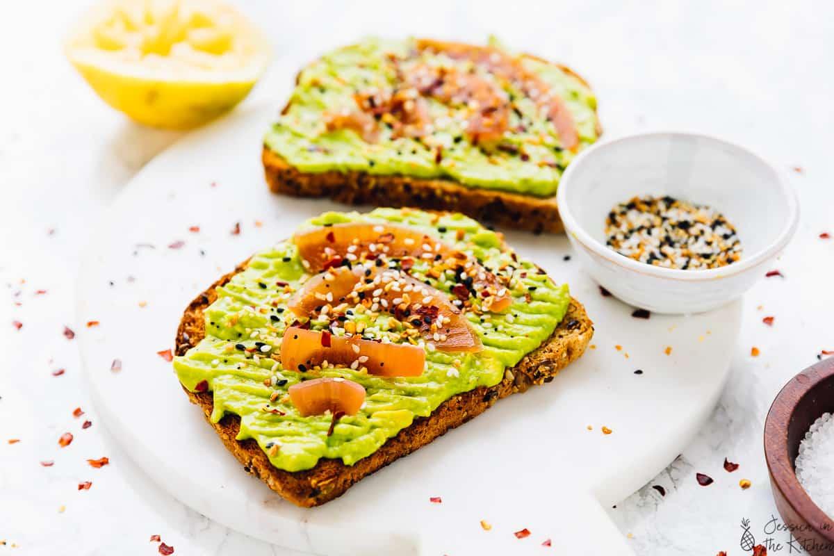 side angle of avocado toast